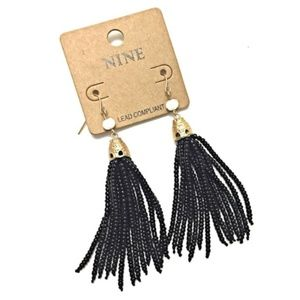 Black Tassel Seed Bead Earrings with Gold Metal